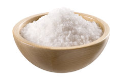 Sea salt in a  wooden bowl Stock Photo