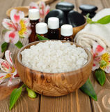 Sea salt in a wooden bowl Stock Photos