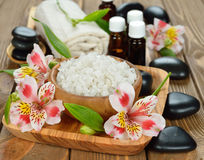 Sea salt in a wooden bowl Stock Image