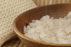 Sea ​​salt in wooden bowl of genuine wool Royalty Free Stock Photo