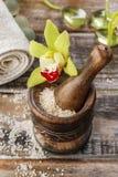 Sea salt in wooden mortar Stock Images