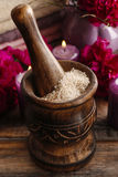 Sea salt in wooden mortar Royalty Free Stock Photo