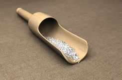Sea Salt in a wooden scoop Royalty Free Stock Photography