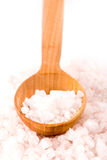 Sea salt on a wooden spoon Royalty Free Stock Photography