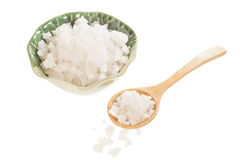 Sea salt on wooden spoon and bowl Stock Photography