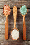 Sea salt in wooden spoons on wooden background Stock Photo