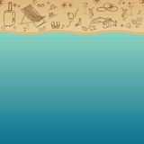 Sea and Sand as background for summer design. Vector illustration. Summer holidays. Royalty Free Stock Image