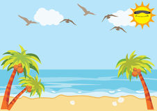 Sea Sand Beach Background. Summer holiday with sea and sand background Stock Photos