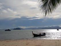Sea sand Island fishingboat boat sky ระนอง เกาะพยาม. Relax summer travel tourism wallpaper background Stock Image