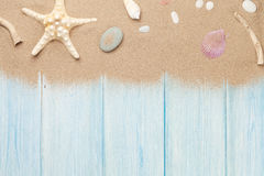 Sea sand with starfish and shells Royalty Free Stock Images