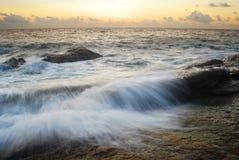 Sea sand sun beach sunset sunrise thailand stone rock beach land Royalty Free Stock Photo