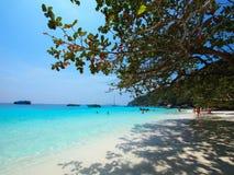 Sea ,sand and sun. A group of tourists have a joyful activities on the Similan beach, Phangnga Royalty Free Stock Photography