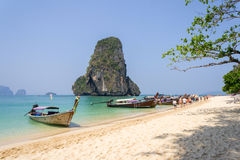 Sea and Sand in Thailand. Beautiful sea at Rai Lay Beach , Krabi, Thailand  in summer Royalty Free Stock Photo