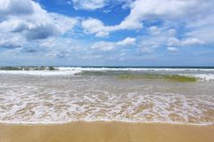 Sea sand wave,blue sky. Karon beach phuket Royalty Free Stock Photography
