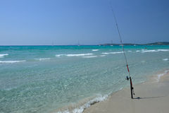 The sea of Sardinia, Italy - fishing in Porto Pino Royalty Free Stock Photos