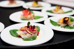 Sea scallop carpaccio dishes Stock Image