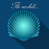 Sea scallop seashell blue icon. Vector. Stock Images