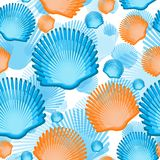 Sea scallop seashell semless pattern. Vector. Royalty Free Stock Images