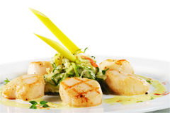 Sea Scallop With Zucchini Spaghetti Stock Photos