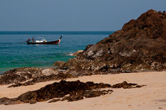 Sea scape and the boat. Sea scape with the boat at Koh Lanta island Royalty Free Stock Image