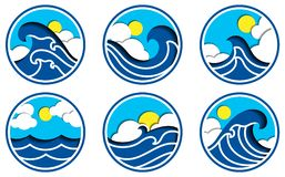 Sea scape with cloud and sun icon vector vector illustration