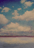 Sea scape. Image by oil painting and photography mixed media Royalty Free Stock Images