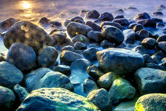 Sea scape with rocks. Long exposure Stock Images