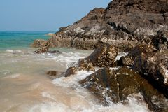 Sea scape. With the stones and waves at Koh Lanta island Royalty Free Stock Images