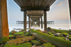 Sea scape of Under the old bridge , HDR Style Royalty Free Stock Images