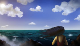 Sea Scene - Digital Painting. Surreal digital painting of a dark haired woman standing on a windy beach Stock Photo