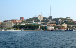 Sea scenery. Sea scenery of Russian naval  and seaport Vladivostok Royalty Free Stock Images