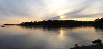 Sea scenery panorama. Evening by Baltic Sea in Helsinki, Finland stock image