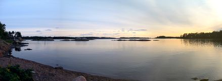 Sea scenery panorama. Evening by Baltic Sea in Helsinki, Finland stock photos