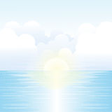 Sea Scenery with Sunlight, Sky and Clouds. Vector Illustration Stock Image