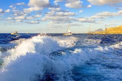 Sea scenes in the bay of Trapani, Sicily island Stock Images