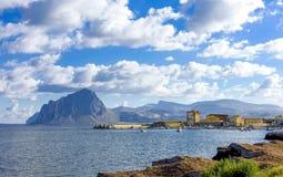 Sea scenes in the bay of Trapani, Sicily island Royalty Free Stock Photos