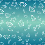 Sea with  sea shells background for summer design. Sea with sea shells background for summer design. Doodle drawn seashells into the ocean. Vector illustration Royalty Free Stock Image
