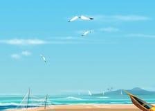Sea and seagull, sea beach and boat Stock Image