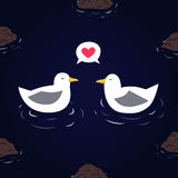 Sea and seagulls in love vector background. Saint Valentine's card. Stock Photography