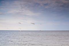 Sea, seagulls and sailboat. Royalty Free Stock Photos