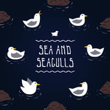 Sea and seagulls vector background Stock Photo