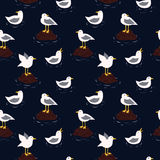 Sea and seagulls vector seamless pattern Royalty Free Stock Image
