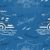 Sea seamless background with old steam ship Stock Image