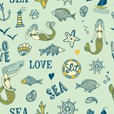 Sea seamless background. Sea seamless pattern with fish; mermaid; lighthouse; wheel; ship Stock Photos