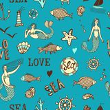 Sea seamless background. Sea seamless pattern with fish; mermaid; lighthouse; wheel; ship; coral Stock Image