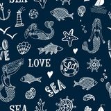 Sea seamless background. Sea seamless pattern with fish, mermaid, lighthouse, wheel, ship, coral Royalty Free Stock Photos