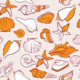 Sea  seamless pattern. Seashells sea  seamless pattern Stock Photos