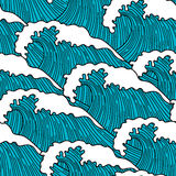 Sea seamless pattern with abstract  hand drawn waves. Background for textile printing and wrapping paper Royalty Free Stock Images