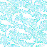 Sea seamless pattern with abstract  hand drawn waves. Background for textile printing and wrapping paper Royalty Free Stock Photos