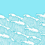 Sea seamless pattern with abstract  hand drawn waves. Background for textile printing and wrapping paper Royalty Free Stock Photography